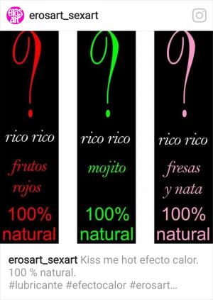 Lubricantes naturales efecto calor sabores